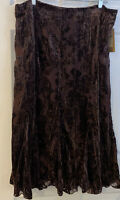 COLDWATER CREEK SKIRT BOHO CHIC Velour Paisley BROWN BURN OUT WOMENS  XL NEW