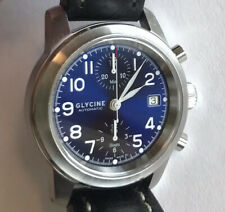 Glycine Ningaloo Reef Men's Automatic Watch Blue/bBlack Dial Black Leather
