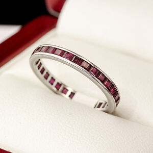 Dazzling Thai Ruby full Eternity ring, in white gold setting.
