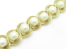14K Yellow Gold & Pearls Tennis Design Wide Link Solid Gold Bracelet Gift