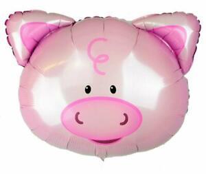 24'' Pink Foil Pig Balloons Farm Animal Decorations Mylar Balloon Decor