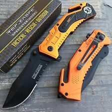 TAC-FORCE EMT Inscription Orange Coated Tactical Rescue Pocket Knife TF-688EMT