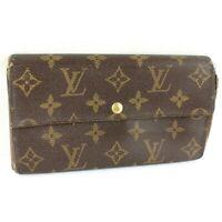 Auth LOUIS VUITTON PORTE MONNAIE CREDIT Long Bifold Wallet Monogram M61725 Brown