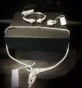 Cote d' Argent Panther Necklace 925 sterling silver necklace bracelet ring  set