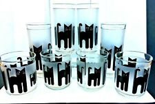 8 Vintage Culver Cats High Ball / Rock Glasses Black  > ACRYLIC EXCELLENT COND.
