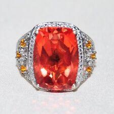 QVC 925 Sterling Silver Padparadscha Orange Sapphire Ring Sz 10 NWT