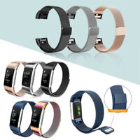 For Fitbit Charge 2 Watch Band Stainless Metal Magnetic Loop Bracelet Strap