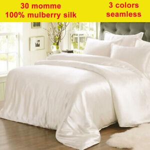 4pc 30mm 100% Silk Duvet Cover Fitted/Bottom Sheet Pillow Cases Set Seamless
