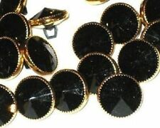 JET BLACK Lot 21 LaRge RHINESTONE Vintage new Buttons Set