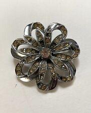 Genuine Vintage Costume Jewellery Silver Brooch Diamante Flower 1940s 50s Glam!