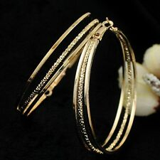 """womens three hoop 2.25"""" earrings textured/smooth 14k gold plated"""