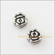 50Pcs Antiqued Silver Tone Tiny Rose Flower Spacer Beads Charms 5mm