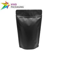 Matte Black Stand Up Doy Pouch, Zip Lock Food Foil Bags, Various Sizes (100 pcs)