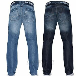 Crosshatch Mens Jeans Straight Fit Designer Branded Boys Trousers Smart Pants