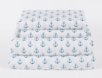 Nautical Anchor Twin Full Queen or King Sheet Set Microfiber Blue White Coastal