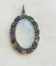 Tourmaline Sterling Silver Pendant Fascinating Diamond,Moonstone & Multi Colored