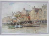 Alfred H Hart EXh 1893-1940 Whitby Harbour framed mounted Watercolour