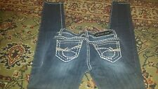 "Women's LA Idol bootcut jeans Embellished Studs & Crystals  Sz 1 31.5"" inseam"