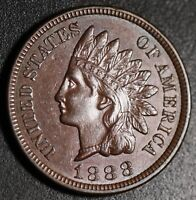 1888 INDIAN HEAD CENT - With LIBERTY & 4 DIAMONDS - AU UNC