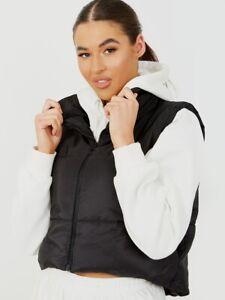 Womens Ladies Padded Quilted Gilet Jacket Waistcoat Body Warmer Crop Top