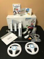 Wii Console Mario Kart Bundle- Wii Sports/Resort +2 Controllers+2 Wheels In Box