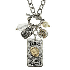 """""""Bless This Player"""" Football Charms 18"""" Silver Tone Necklace With"""