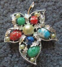 Vintage Sarah Coventry Brooch Silvertone Multi-Colored Stones