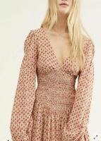 Free People Indigo Child Smocked Printed Long Sleeve Midi Dress Ivory Combo $108