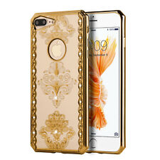 iPhone 7+ Plus - GOLD Electroplated Bling Damask Flowers Rubber Gummy Case Cover