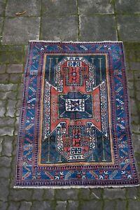 schöner alter Teppich Orientteppich handgeknüpft 183x123 cm t19