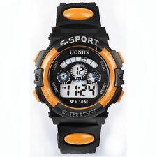 étanche Hommes Garçons Digital LED Quartz Alarme Date Montre Bracelet Orange