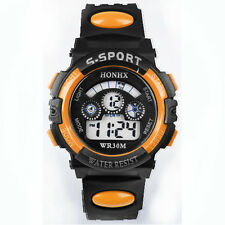 Waterproof Mens Boys Digital LED Quartz Alarm Date Wrist Watch Orange Watches UK