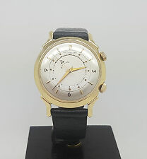 Rare Vintage 14K Solid Gold Jaeger Lecoultre Memovox Alarm Watch Cal. 814