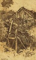 FRED E. BOLT Original Etching WATERMILL 1898
