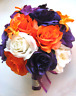 Wedding Bouquet 17 piece package Bridal Silk flowers PURPLE PLUM ORANGE LILY