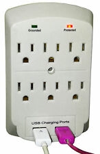 6 Outlet Wall Tap Dual & 2 USB Ports Charger Surge Protector Socket 2.1A STL-105