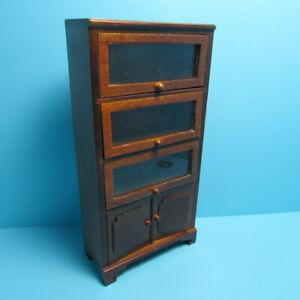 Dollhouse Miniature Bookcase Walnut 3 Clear Cabinets & 1 Lower Cabinet T6872