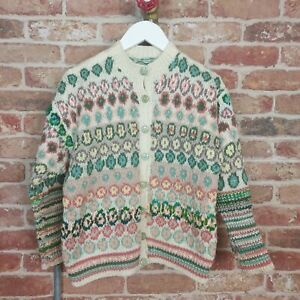 VINTAGE 1940s Hand Knitted Womens Jumper Cardigan Fair Isle Land Girl XS 6/8