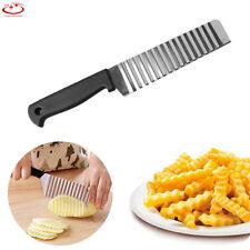 Stainless Steel Potato Chip Crinkle Wavy Cutter Vegetable Fruit Slicer Knife NEW