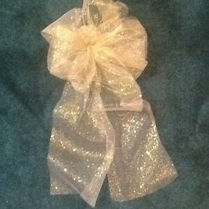 """10"""" Glitter Tulle Wedding-Pew Bows 15""""Tails Gold, Silver, White, Ivory Hand Made"""