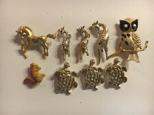 Some Marked Others Not. Vintage Costume Brooch/pins Animals.