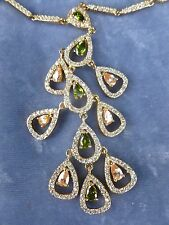 ELEGANT STERLING SILVER CZ, GREEN AND YELLOW SEMI PRECIOUS STONE DROP NECKLACE