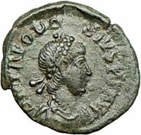 Theodosius I the Great Ancient Roman Coin Nike Victory Chi-Rho Christ  i28024
