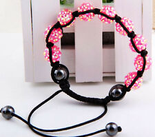 15Color 12mm Disco Resin crystal Ball Hematite Beads Braided Adjustable Bracelet