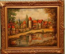 """Emil W. Mahlan""  Landscape Oil Painting depicting a Village Scene"