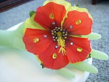 NEW The AWESOME BLOSSOM Flower Hair Clip BLING BLING BLOSSOM Red/Yellow Hawaiian