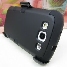 BLK Tuff Hard Impact Cover Case+Belt Clip Holster for Samsung Galaxy S3 S III 3