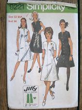 Vintage 1970s Sewing Pattern Simplicity #9221 Miss Petite Dress Size 12 Uncut