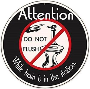Attention Do Not Flush round steel sign 360mm diameter (pst) REDUCED