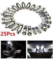 25Pcs White LED Car Exterior & Interior Light Bulb Kit for Map License Plate